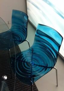 blue acrylic wave chair