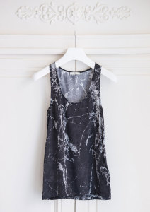 black marble silk print top/balenciaga